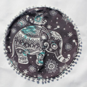 Large Round Floor Cushion Cover, Indexp Pompom Tassel Around Indian Bohemian Mandala Pillows Cover