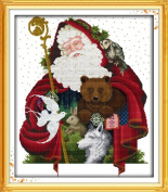 Chreey Merry Christmas (Santa Claus) Series - Happy Christmas Cross Stitch Fashion Crafts Home Art Decoration [47x53cm]