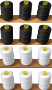 12 Sewing Overlocking 100% pure Cotton Threads (6 WHITE + 6 BLACK ) for Sewing Machines / Hand Stitching 1,000 Yards Each - Ideal for Sewing, Quilting and much more use.