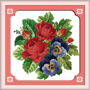 Chreey Colourful Flowers Series (2) - Rose and Orchid Cross Stitch Fashion Crafts Home Art Decoration [32x33cm]