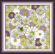 Chreey Gorgeous Flowers Series - Daisy and Bee Cross Stitch Fashion Crafts Home Art Decoration [37x37cm]