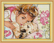 Chreey Dog & Its Owner Series - Girl and Dog Cross Stitch Fashion Crafts Home Art Decoration [39x31cm]