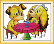 Chreey Cute Puppy Series - Be Passionately in Love Cross Stitch Fashion Crafts Home Art Decoration [28x21cm]