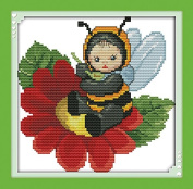 Chreey Animal Baby Series - Lovely Little Baby Bumblebee Cross Stitch Fashion Crafts Home Art Decoration [21x21cm]