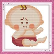 Chreey Baby Expression Series - Sad Baby Cross Stitch Fashion Crafts Home Art Decoration [29x29cm]