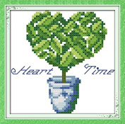 Chreey Colourful Tree - Green Love Tree Simple Cross Stitch for Beginners Fashion Crafts Home Art Decoration [15x15cm]