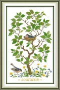 Chreey Colourful Tree - Bird's Nest Simple Cross Stitch for Beginners Fashion Crafts Home Art Decoration [43x64cm]