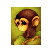 Gemini_mall® Cute Monkey Cross Stitch 5D Diamond Monkey Embroidery Painting Animal Rhinestone Cross Stitch Decor DIY, Multi-Colour