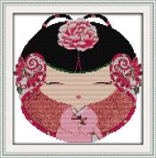 Chreey Chinese Dolls - Ethnic Style Cross Stitch Fashion Crafts Art Decoration #2 [29x29cm]
