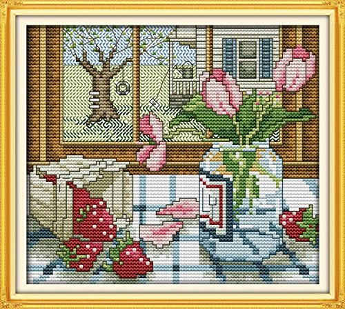 LiangGui Cross Stitch Kit Embroidery Kits DIY Counted Needlework Home Decor Cat