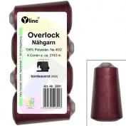 Set of 4 Spools Overlock Sewing Cotton, Bordeaux Red, XS M, NE 40/2, 100% Polyester Sewing Thread, Sewing Machines, 2891