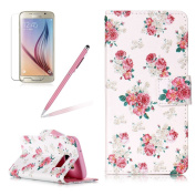 Girlyard Case For Samsung Galaxy S7 Flip Leather [Magnetic Closure] Blossom Rose Flower Vintage Design Front and Back Wallet Folio Protective PU Leather Case Cover Built in Stand and Card Slots
