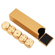 5pcs Aluminium Alloy Dices Game Set with Metal Box Entertainment Toy Gambling Dice Christmas Party Gifts