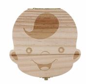 Kingken Wooden Baby Boy Tooth Memory Box Teeth Organiser Box Storage Souvenir Box