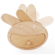 TAMUME Wooden Teeth Box with 12 Teeth Holders - Big Rabbit with Movable Ears