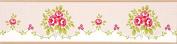 Floral Bouquet Wallpaper Border Pink Flowers Dotty Green Cream Boutique Luxury