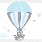 "anna wand design border with cute animals, self-adhesive, 450 x 11.5 cm, ""Hot Air Balloons"" lightblue/grey"