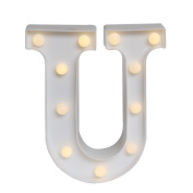 GB UNICORN Wall Letters Light At Symbol Battery Marquee Letter Lights Alphabet Light Up Sign for Wedding Home Party Bar Decoration(White U)