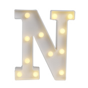 GB UNICORN Wall Letters Light At Symbol Battery Marquee Letter Lights Alphabet Light Up Sign for Wedding Home Party Bar Decoration(White N)