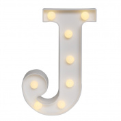 GB UNICORN Wall Letters Light At Symbol Battery Marquee Letter Lights Alphabet Light Up Sign for Wedding Home Party Bar Decoration(White J)