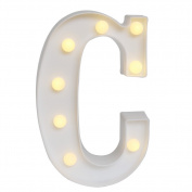 GB UNICORN Wall Letters Light At Symbol Battery Marquee Letter Lights Alphabet Light Up Sign for Wedding Home Party Bar Decoration(White C)