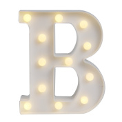 GB UNICORN Wall Letters Light At Symbol Battery Marquee Letter Lights Alphabet Light Up Sign for Wedding Home Party Bar Decoration(White B)