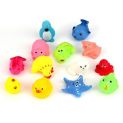 HEHILARK Baby Bath Toys, 13pcs Different Squeaky Floating Animals Ocean Rubber Baby Bath Bathing Toys for Baby for Little Hands to Grasp