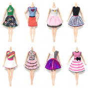 8 PCS Fashion Girl Doll Toy Summer Dresses Gown Outfits Clothes Accessories for Barbie Toys Children Girls Birthday Xmas Gift