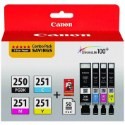 Canon 6497B004 (PGI-250; CLI-251) Ink & Paper Combo Pack, Black/Cyan/Magenta/Yellow