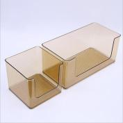 ZXLIFE@Cosmetic storage box multi-functional plastic transparent bathroom shelves bathroom wash table racks , coffee colour , small