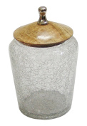 nu steel Crackle Glass Canister Large w/Wooden Lid