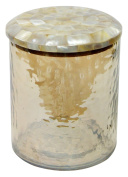 nu steel Hammered Glass Canister Small W/Mop Lid