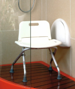 MSV Bathroom Stool Foldable, White/Silver