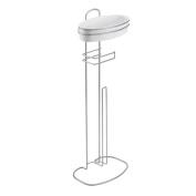 Metaltex Orbit Toilet Paper Dispenser and Holder, with Shelf, Metal, White/Silver, 19 x 26 x 73 cm