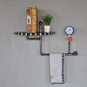 LNPP LOFT Style Wall Mount Shelf Bathroom Storage Towel Holder,30x 11Inch x 23cm