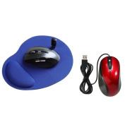 Insten Blue Wrist Comfort MousePad+Red Black USB Optical Scroll Wheel Mouse