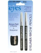 LA Colours Eyeliner, Brow Pencil & Sharpener, Black