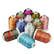 Simthreads 12 Multi-Colours Polyester Embroidery Machine Thread, 1,000M/spool