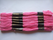 Pack of 6 Trebla Embroidery Thread / Skeins - 8m - Deep Pink - Col. 204