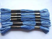 Pack of 6 Trebla Variegated Embroidery Thread / Skeins - 8m - Dark Blues - Col. 50