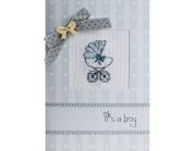 Luca-S LSP-20 Card Embroidery Kit / Boys' Pram Pattern / 14.5 x 10cm