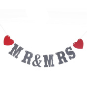 Kingken MR MRS Sign Bunting Banner for Wedding Party Decoration