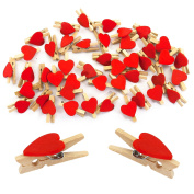 Oblique Unique 10 Pack of 50 Mini Wooden Clothes Pegs with Cute Hearts In Red Or White – Wooden Decorative Pegs, red