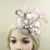 Kingken Elegant Wedding Party Hair Accessory Satin Feather Fascinator Clip for Ladies