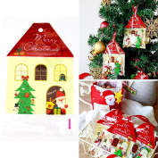 50 Pcs Christmas House Cellophane Party Favour Sweet Candy Biscuit Bags Self Adhesive