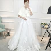 Woman'S Shawl Wedding Dress Warm Accessories Cape Package Half Sleeve Jacket White