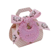 12Pcs Bib Shape DIY Paper Gift Box Christening Baby Shower Party Favour Boxes Pink