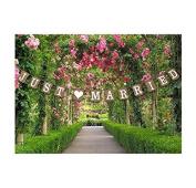 W.Air Just Married Wedding Bunting Cardboard Wedding Decoratiat, Vintage