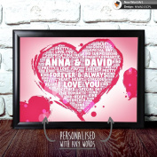 PERSONALISED HEART LOVE ANNIVERSARY ENGAGEMENT BIRTHDAY CHRISTMAS WEDDING GIFT A4 Print & Silver Frame