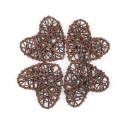 Rattan Heart Craft Art for Christmas Birthday Party & Home Wedding Party Wedding Party Ornaments 13cm-Coffee Pack of 20